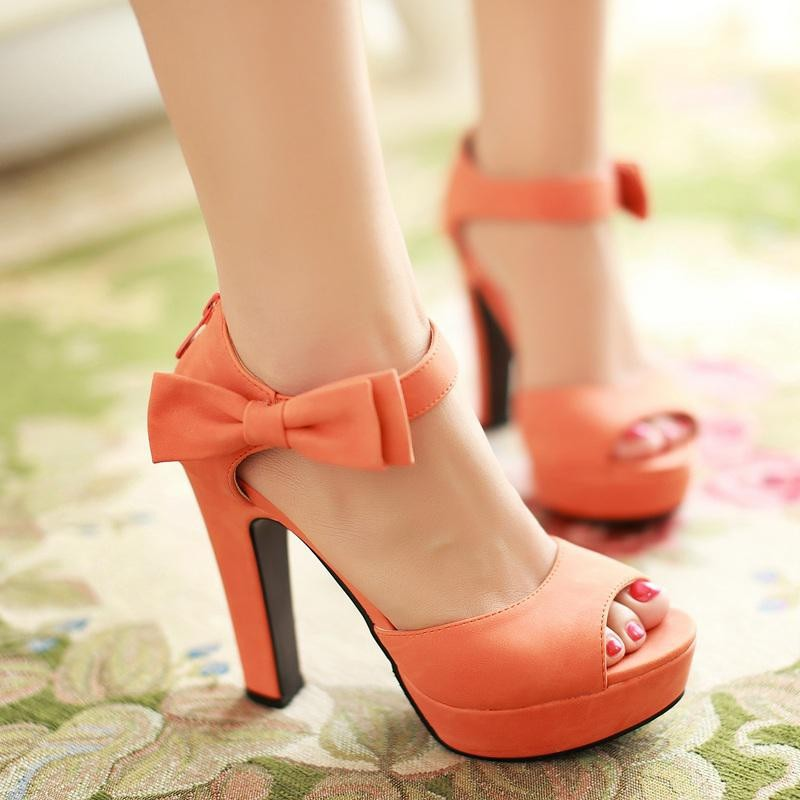 a8955d4c6578 Ulass New summer Peep toe Ankle strap orange Sweet high heel Sandals  Platform Lady shoes Bowtie 4 Colors Spike heels Bowtie Buckle ST-055
