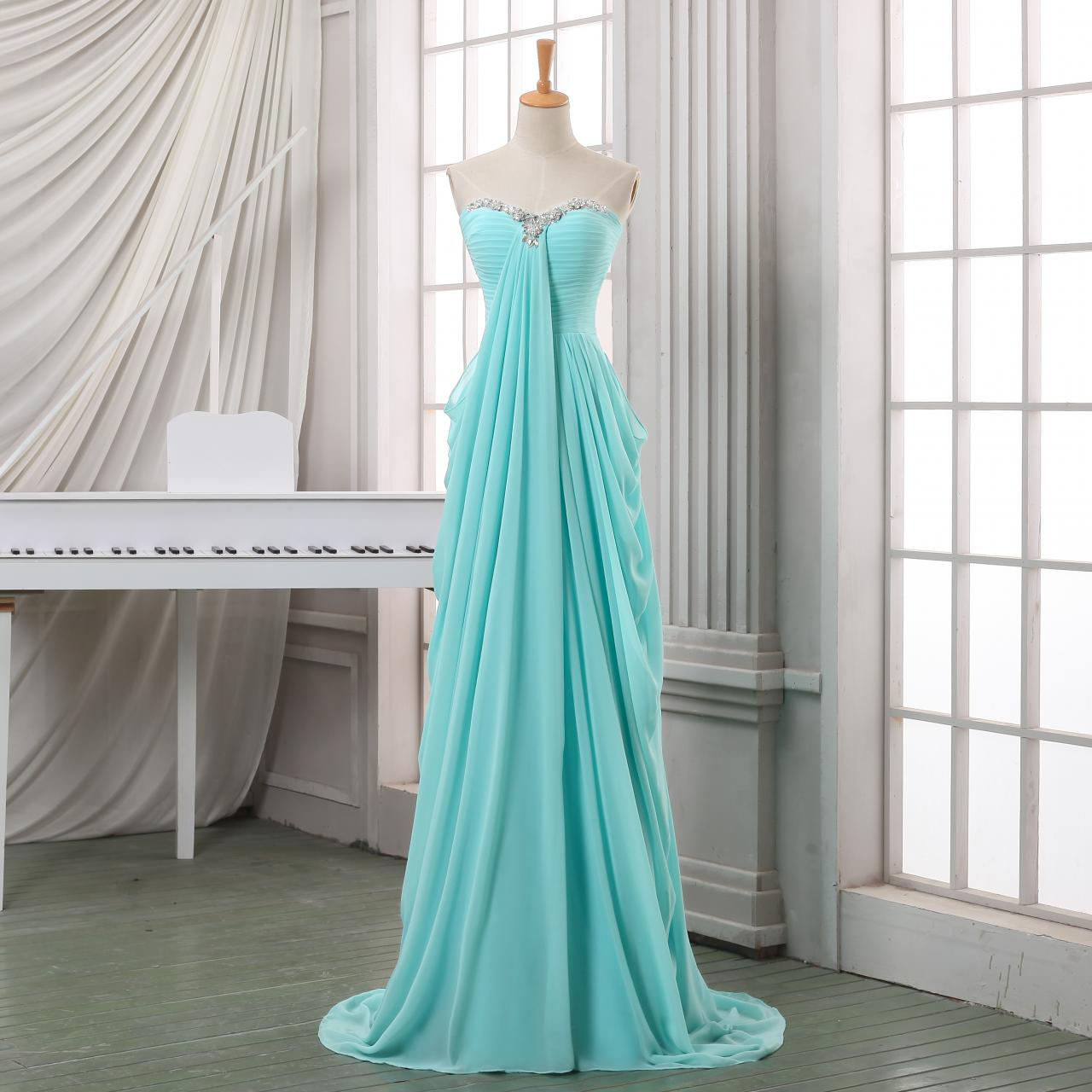 Ulass Long pleated chiffon prom dress,A line sweeetheart prom dress,baby blue chiffon long prom dresses,formal evening dress,long homecoming dress