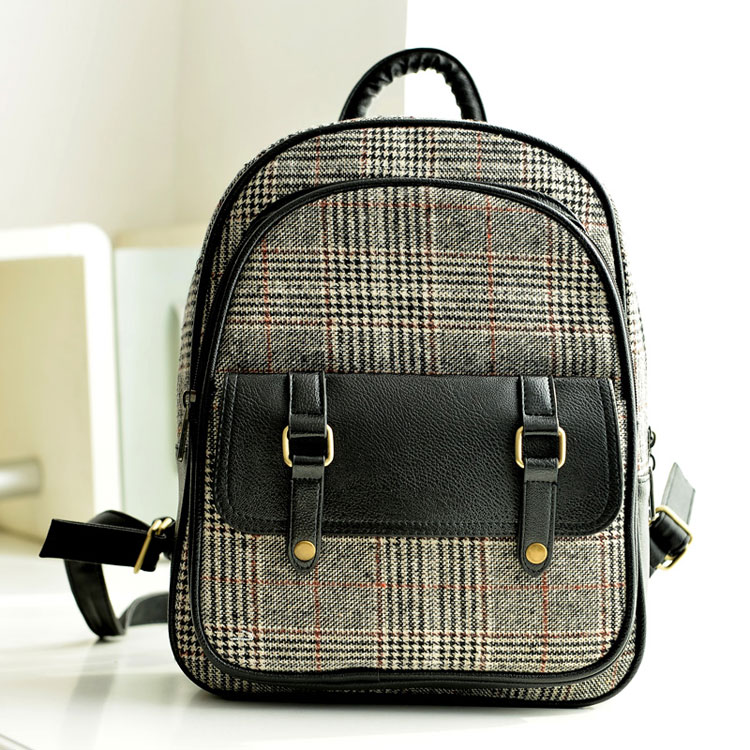 Ulass Fresh Plaid Canvas College Nice Backpack BB-44