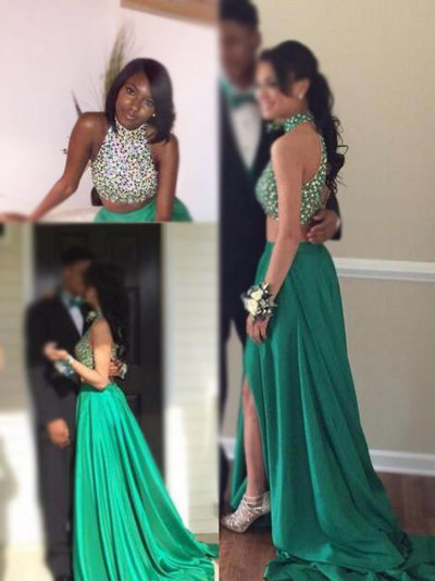 Ulass Glamorous Two Pieces High Neck Prom Dresses,Beading Prom Dresses,Open Back Prom Dresses,With Slit Prom Dresses
