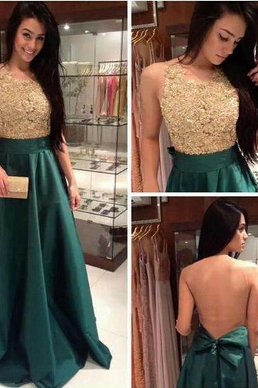 Ulass Appliques and Satin Prom Dresses, Floor-Length Prom Dresses, Sexy Prom Dresses, A-Line Prom Dresses, Charming Backless Evening Dresses