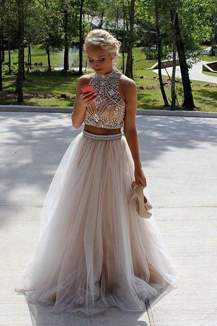 High Quality Two Pieces High Neck Beads Long Prom Dress Evening Dress With Open Rhinestone Tulle Prom Dresses