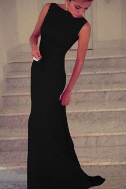 Charming Prom Dress,Black Chiffon Prom Dress,Black Mermaid Prom Dress,Long Evening Dress,Formal Dress,Women Dress