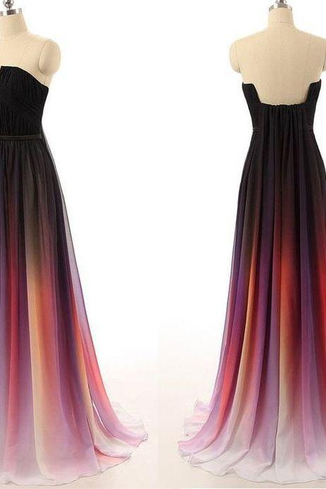 Pretty Chiffon Gradient Prom Dress, Gradient Prom Dresses, Prom Dresses 2016, Prom Gowns, Formal Gowns