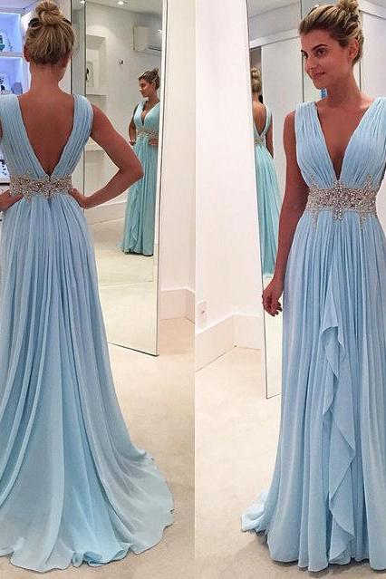 Sexy V-Neck Beading Pleat Chiffon Long Prom Dress, Custom Made Formal Evening Gowns,Fashion Women Dresses