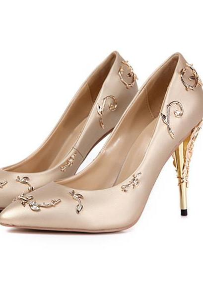 Pointed-Toe Silk Stilettos with Gold Floral Adornments