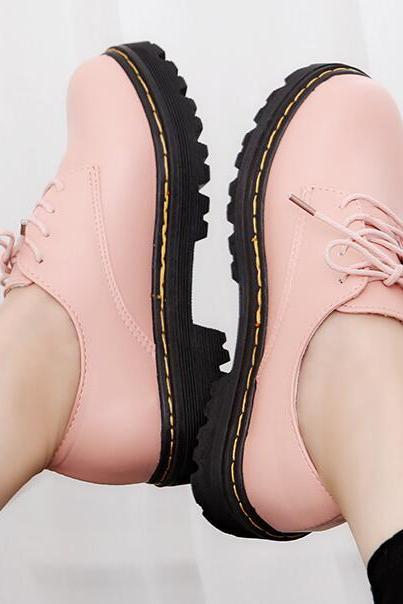 Ulass Lace Up Faux Leather Shoes