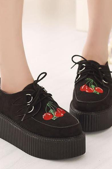 Cherry Embedded Leather Creeper Shoes