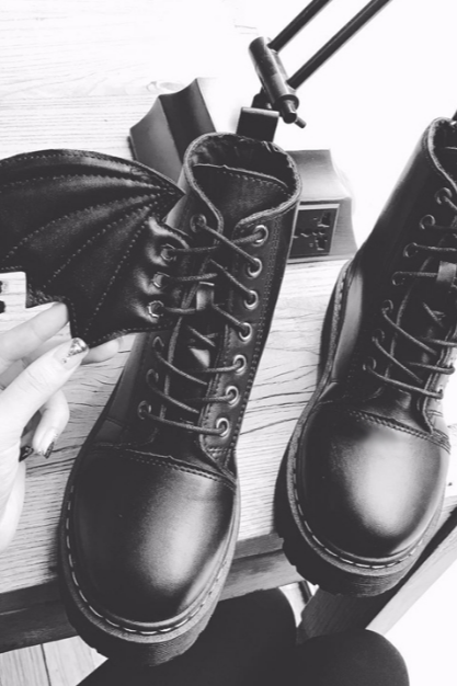 Ulass Black Demon Wings Martin Boots