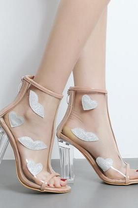Peep-Toe Transparent Block Heel Ankle Boots with Kisses and Hearts