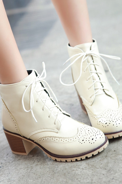 Oxford Ankle Boots with Brogue Details