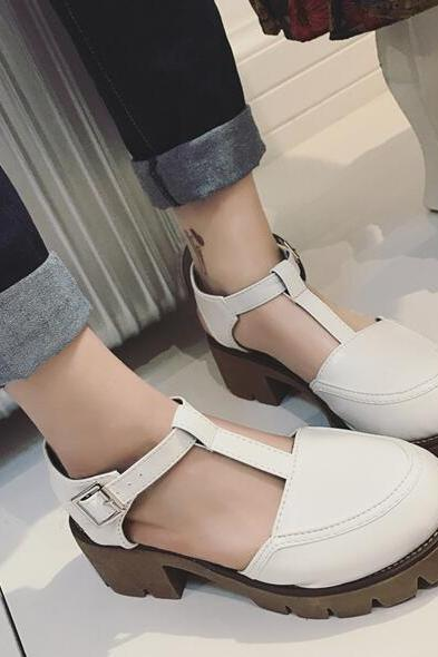 T-strap Chunky Cleated Sole Platform Shoes