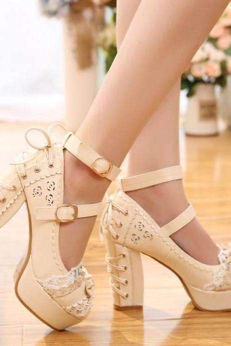 Ulass Lolita Pastel Color Lace Heeled Shoes