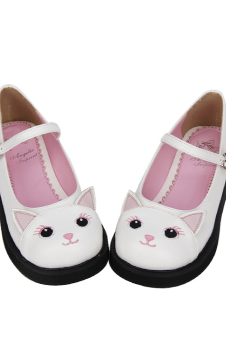 Ulass Lolita Kitty Cat White Shoes