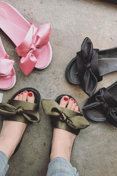Open-Toe Bowknot Flat Slippers Sandals
