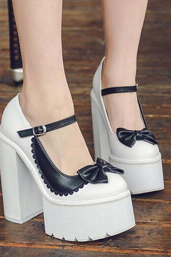 Ulass Lolita Punk Bowknot High Heels