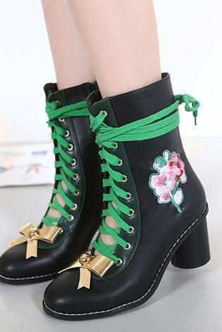 Ulass Lace Up Bowknot Heeled Booties