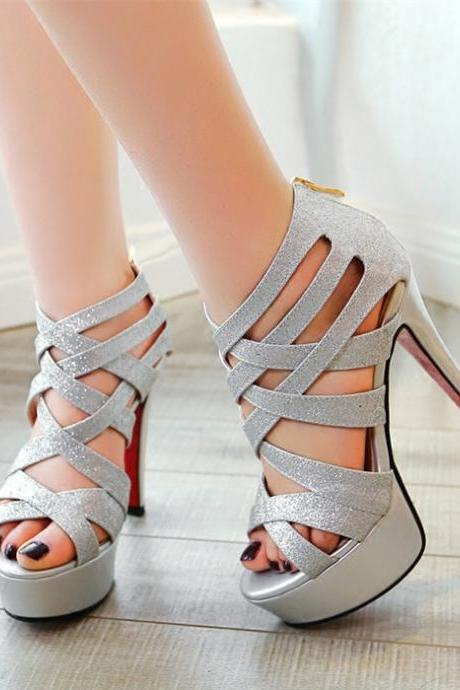Ulass Metallic Silver and Gold Strappy High Heel Pumps ST-071