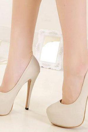 Ulass Chic Round toe High Heel Fashion Shoes in Apricot and Black ST-075