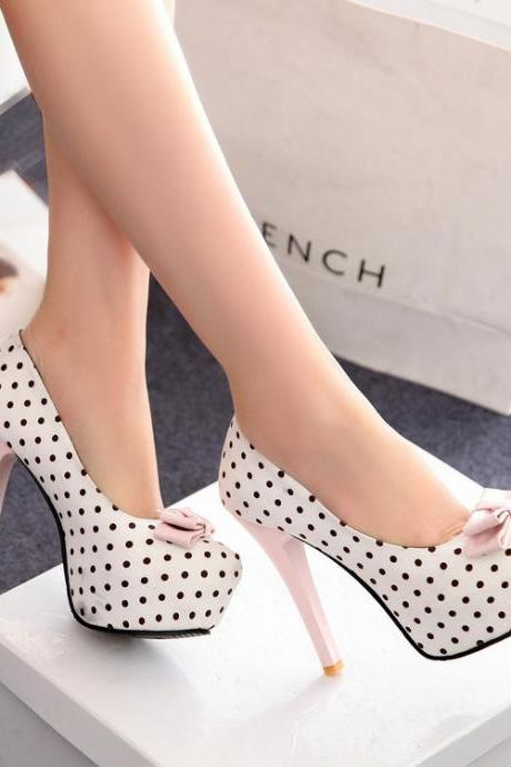 Polka Dot Printed Round Toe Stiletto Pumps with Ribbon