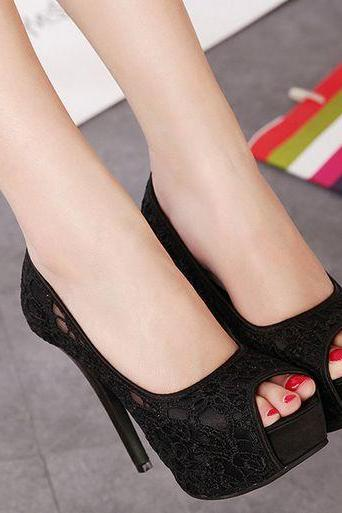 Ulass Black ,White and Pink Lace Design Peep Toe High heels Shoes ST-082