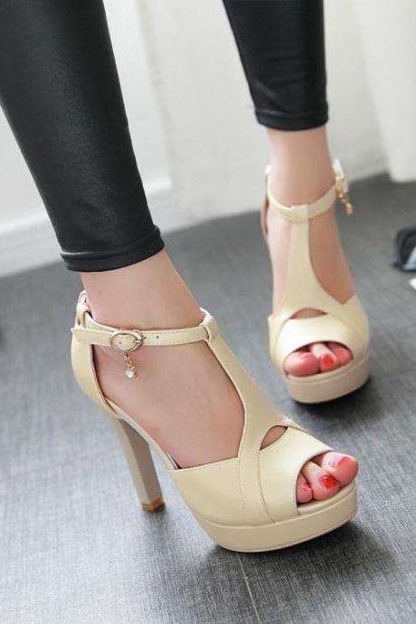 Ulass Stiletto High Heel T Strap Beige Fashion Sandals ST-091