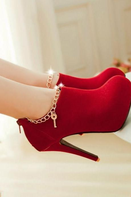 Ulass Sexy Charmed Red High Heel Booties ST-094