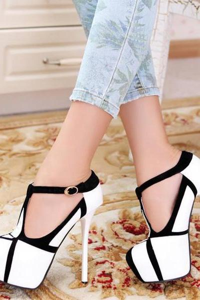 Ulass Fashion Stiletto T Strap High Heel Shoes ST-100