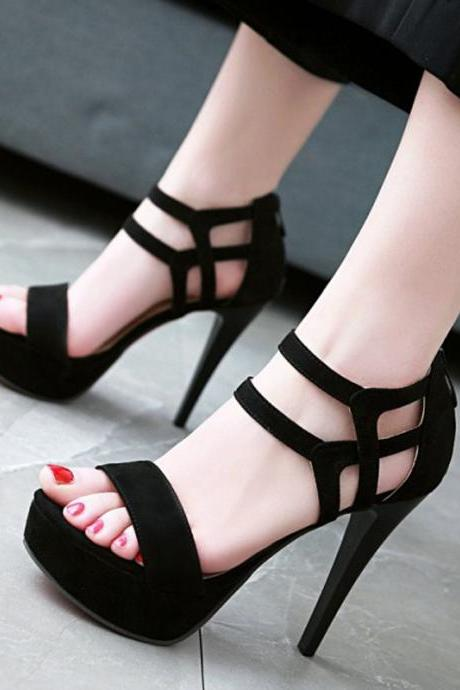 Ulass Sexy Black T Strap High Heel Fashion Sandals ST-104