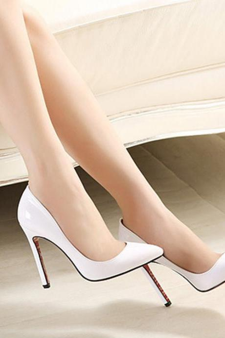 Pointed Toe Glossy Patent leather Stiletto Pumps