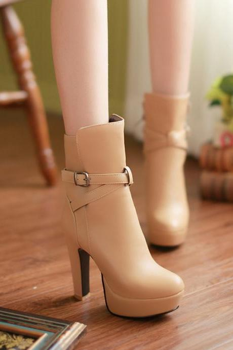 Ulass Cross Strap Chunky Heel Winter Boots ST-118