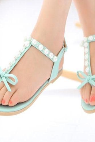 Pastel Color Pearls and Bows T Strap Sandals Flats