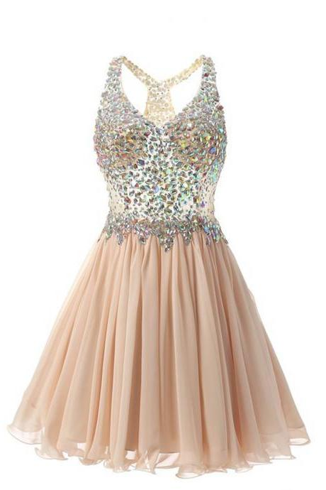Ulass Stunning V-Neck Knee-Length Champagne Homecoming Dress with Beading 2017