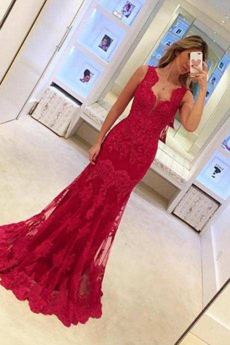 Ulass Prom Dresses,lace Prom Dresses, 2017 Prom Dresses,red Prom Dresses,Evening Dress 2016,Formal Prom Dress,Long Evening Dress