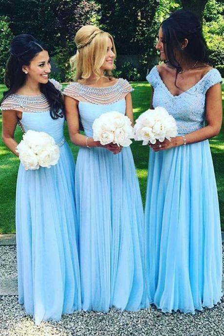 Ulass Cap Sleeves Bridesmaid Dresses,Blue Bridesmaid Dress,Charming bridesmaid dress,Custom bridesmaid dress, Wedding Party Dresses,Long Bridesmaid Dress,Bridesmaid Dresses,Bridal Gowns