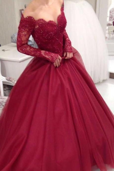 Ulass Sheer Scoop Neckline Long Sleeves Burgundy Ball Gowns Wedding Dresses,Elegant Party Dress,Prom Dresses 2017