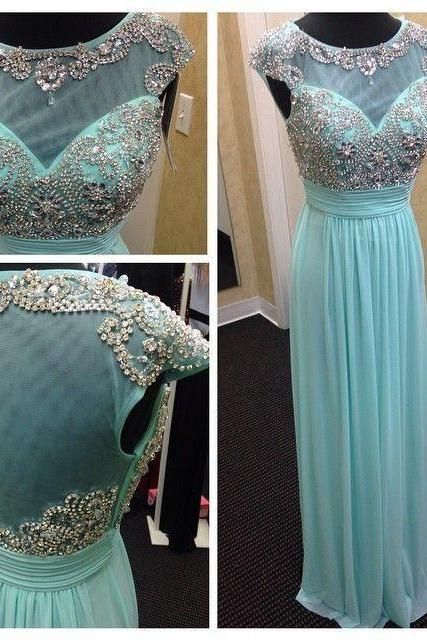Ulass Mint Green Chiffon And Tulle Boat Neck Cap Sleeve A Line Floor Length Beaded Long Formal Evening Prom Dress