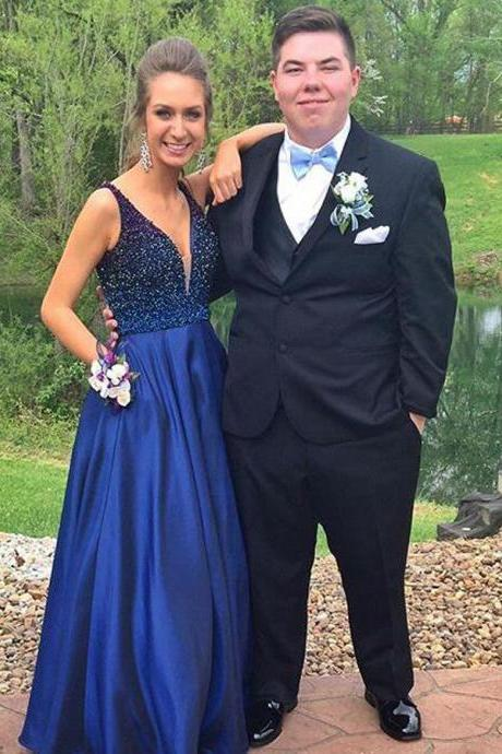 Ulass 2017 Prom Dresses,A-line Prom Dresses,Beaded Prom Dresses,Royal Blue Prom Dresses,Evening Dresses,Plus Size Prom Dress,Party Dresses