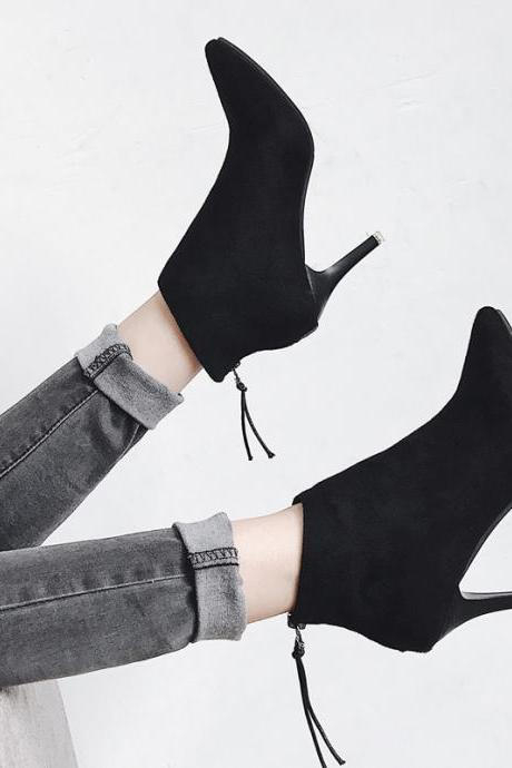 Black Faux Suede Pointed-Toe High Heel Ankle Boots Featuring Zipper Back