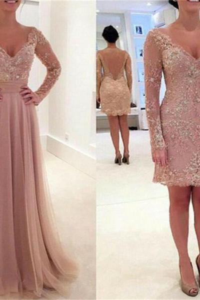 Ulass Charming Long Sleeve Lace Tulle Pink V-neck Sexy Prom Dresses 2017