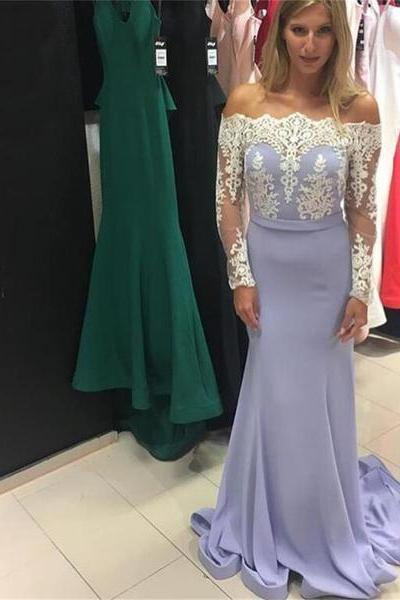 Ulass GLavender Long Mermaid Long Sleeves Lace Top Straight Neck Newest Prom Dress