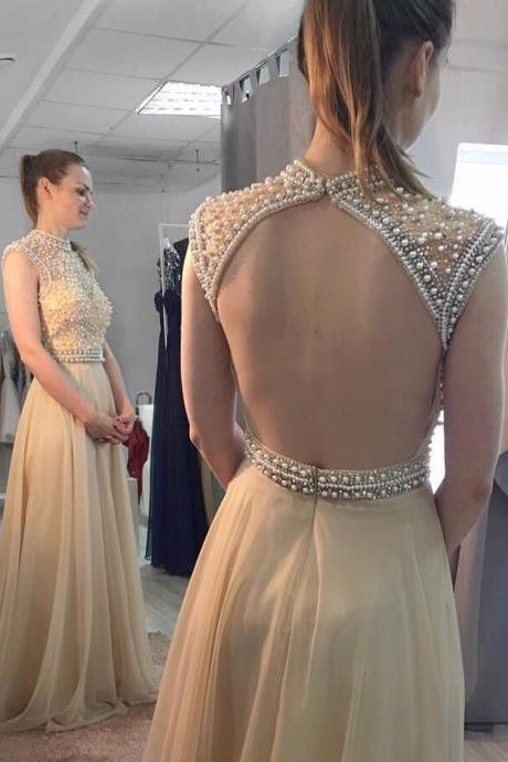 Ulass Cheap prom dresses 2017, Custom Made Prom Gowns, A Line High Neck Pearls Top Champagne Chiffon Prom Dress,Open Back Long Evening Dresses