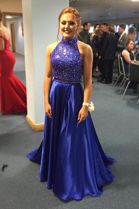 Ulass Royal Blue Prom Dresses,2 Piece Prom Gown,Two Piece Prom Dresses,Satin Prom Dresses,New Style Prom Gown 2018