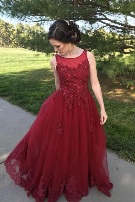 Ulass Burgundy Prom Dresses,Pink Prom Dresses,Lace Prom Dreases,Formal Dresses,Sweep Train Prom Dresses,Formal Dresses 2018