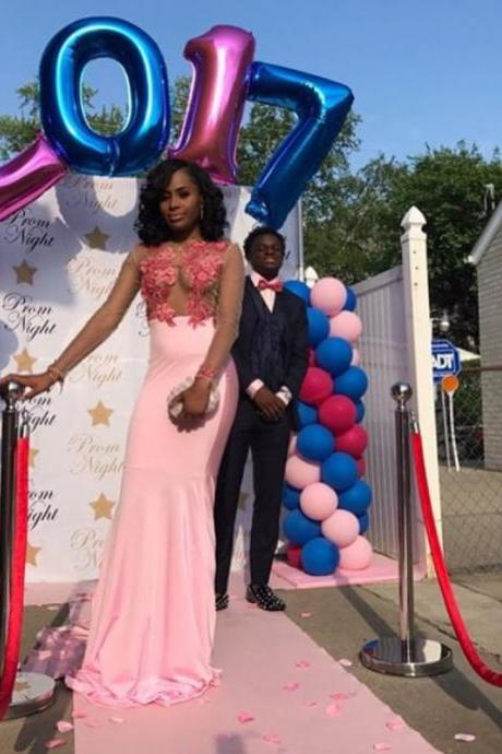 Ulass Sexy Prom Dress 2018,Long Prom Dress,Mermaid Pink Prom Dress, Long Sleeves Prom Dress,Formal Dress,Hot Sale Formal Party Dress,Women Dress,Party Dress for Black Girls,Modest Prom Dress
