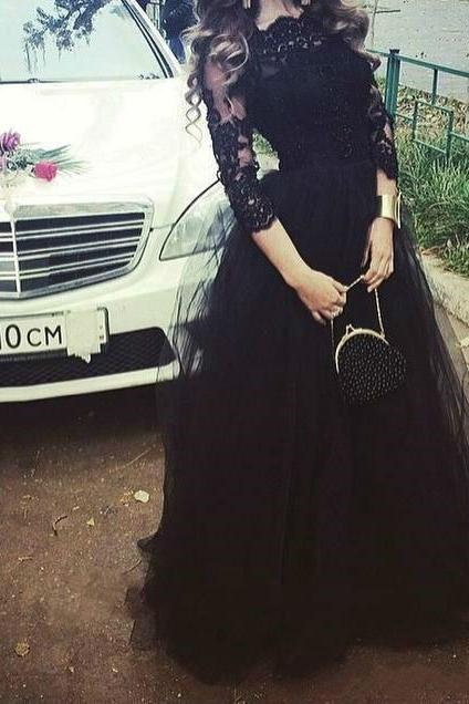Ulass 2017 Elie Saab Evening Dresses With 3/4 Long Sleeves Black Lace Tulle Appliqued Celebrity Formal Dress Long Custom Cheap Prom Gowns