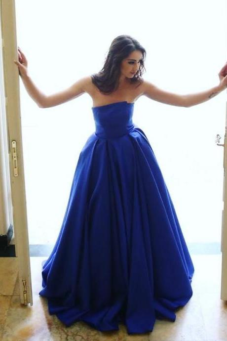 Ulass Unique Prom Dress,Royal Blue Party Dress,Satin Gowns,Strapless Puffy Evening Dresses ,Prom Gowns,Long Prom Dress,A-Line Prom Dresses ,2017 Evening Dress