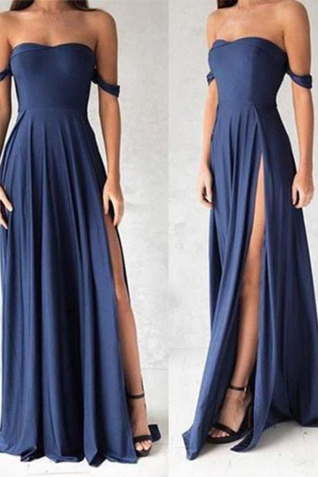 Ulass Navy Blue Shoulder Long Prom Dress, Evening Dresses,Slit Bridesmaid Dresses,Graduation Dress,Cheap Prom Dress