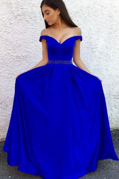 Ulass 2018 prom dresses graduation dresses, royal blue long prom dress, off the shoulder long royal blue dress