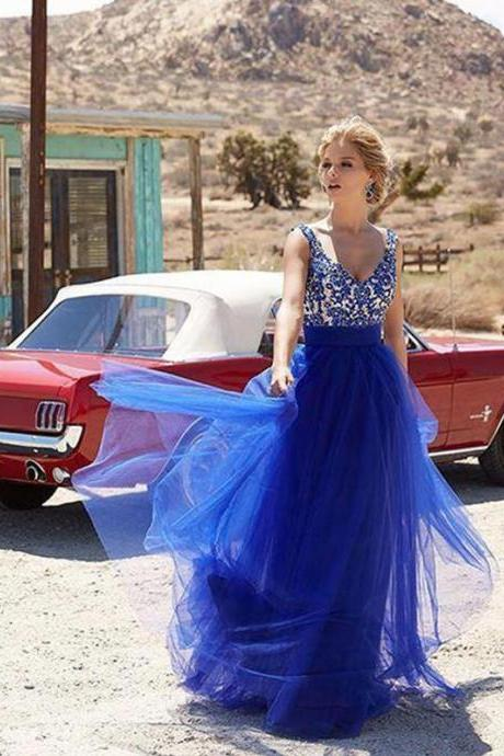 Ulass Royal blue prom dresses, A-line Straps Floor-length Tulle Prom Dress/Evening Dress